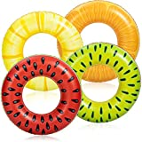 Inflatable Pool Floats Fruit Tube Rings (4 Pack), Fruit Pool Tubes, Pool Floaties Toys, Beach Swimming Party Toys for Kids and Adults