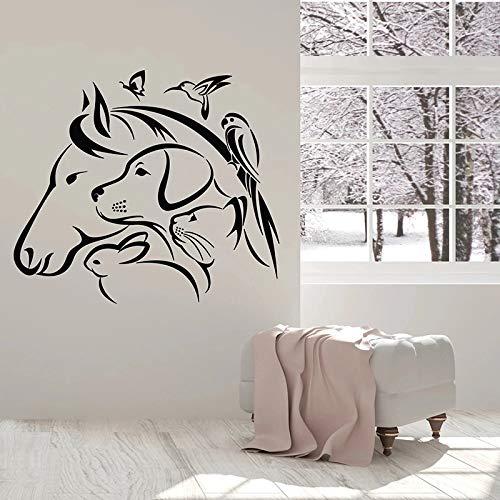 Pegatinas de pared de animales caballo perro gato conejo loro puerta y ventana vinilo clínica veterinaria decoración de interiores