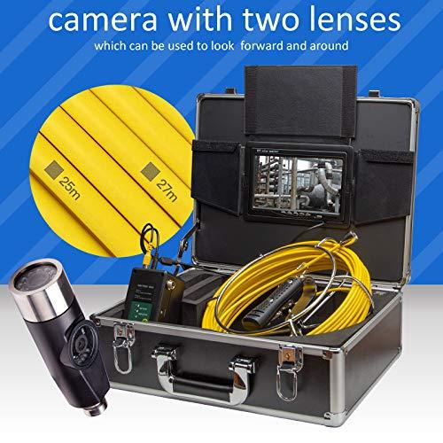 XIAODONGDONG Doppelobjektiv-Tubus-Endoskop Doppelobjektiv-Tubus-Kamera Rohrinterner Inspektionsdetektor Unterwasser-Straßeninspektionskamera,80M