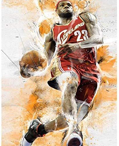 pintura por números para adultos principiantes kit de pintura de bricolaje uso de pincel y pintura acrílica para pintar por números en el lienzo - jugar baloncesto - 16 x 20 pulgadas (sin marco)