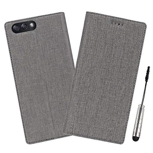 Guran® Hülle für ASUS ZenFone 4 ZE554KL (5.5 Zoll) PU Ledertasche Flip Cover Mit Kartensteckplatz Silikon TPU & Standfunktion Retro Stil Wallet case - (grau)