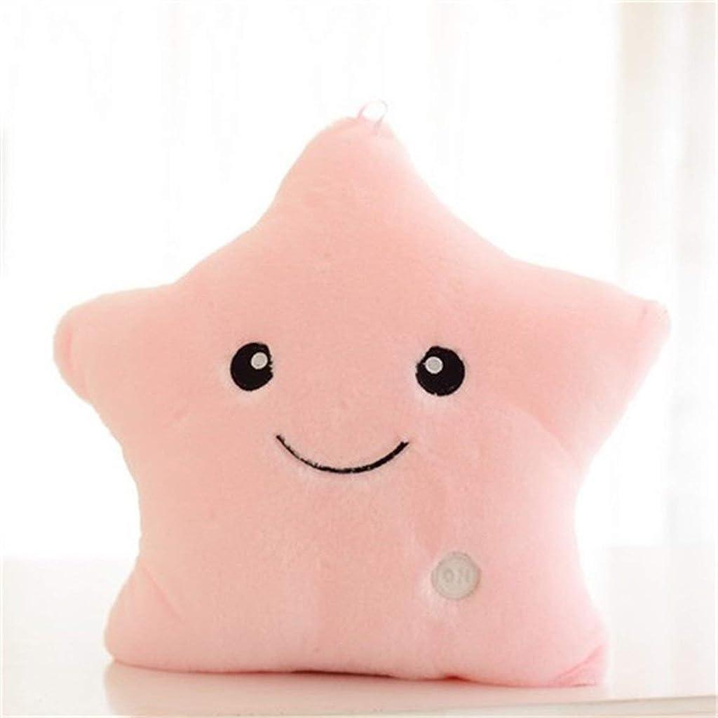 コミットメント十ボウリングユニークな発光枕鮮やかな星デザインledライトクッションぬいぐるみ枕用寝室のソファ誕生日ギフト用のおもちゃ - ピンク