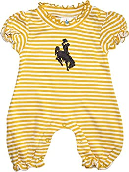 Creative Knitwear University of Wyoming Cowboys Striped Puff Sleeve Romper
