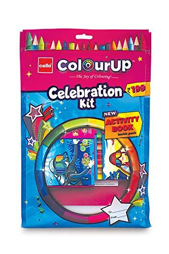 Cello ColourUP Celebration Kit - Mega Gift Pack   15 Oil Pastels   Sketch Pens   12 Jumbo Wax Crayons   8 Assorted Items   Free Activity Book   Hobby Stationery for Kids   Best for Gifting