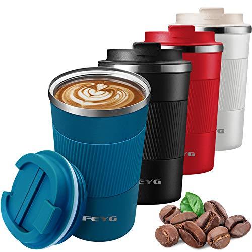 Thermobecher, 510 ml Kaffeebecher Thermo mit Auslaufsicherem Deckel, Edelstahl doppelwandig Isolierte kaffeebecher to go, Coffee to go Becher für heißes und kaltes Wasser Kaffee Tee (blau-510ml)