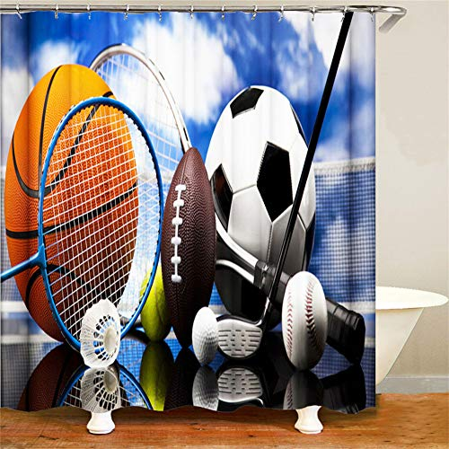 LIYAN Cortina De Ducha: 180 Cm X 180 Cm. Impresión 3D HD. Pigmentos Vegetales. Impermeable. Accesorios De Baño. Decoración Hogareña. Raqueta De Bádminton Bádminton Baloncesto Fútbol.