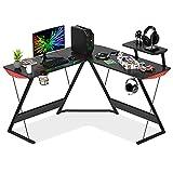 LIVHOOU Escritorio para juegos en forma de L, escritorio ergonómico esquinero para PC, marco de acero, estación de trabajo con soporte para monitor y portavasos negro (130 x 130 x 76 cm)