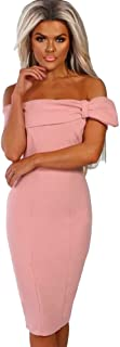 Slim Strapless Shoulder Bow in The Long Slim Skirt High Waist Sexy One Shoulder Polyester New Dress (Color : Pink, Size : S)