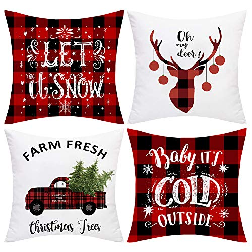 JOMMIE CHEN Christmas Cushion Covers set of 4, Farmhouse Buffalo Plaid Pillow Covers Red Cushion Covers 18x18 Decorative Xmas Cushions for Sofa, Bed(Red and White Plaid)