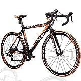 PANTHER (パンサー) ロードバイク 多色/3サイズ選択可 シマノ14段変速装備 STIデュアルコントロール 超軽量異型アルミフレーム 700C×25C 適応身長160cm以上 前後クイックリリース搭載 ドロップハンドル コスパ最強モデル メーカー保証1年 (Black(ブラック)/Orange(オレンジ), 520mm(XL))
