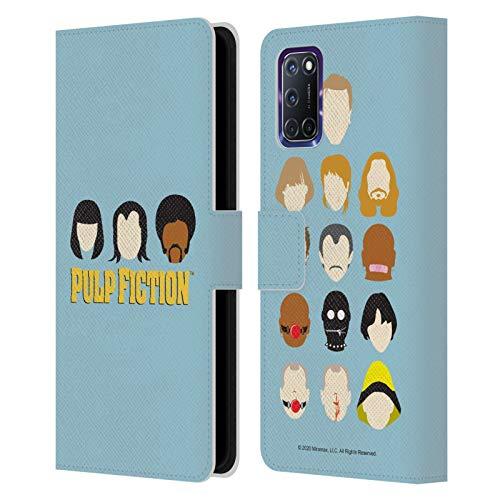 Head Case Designs Licenza Ufficiale Pulp Fiction Facce Arte Cover in Pelle a Portafoglio Compatibile con Oppo A72
