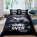 Kids Gamer Bedding Boys Games Comforter Cover for Bedroom Living Room Decor Child Teens Video Game Gamepad Duvet Cover Novelty Nostalgic Playing Gaming Bed Cover Set with 1 Pillowsham,Twin,Black