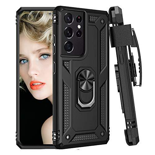 Custodia in silicone per Samsung Galaxy S21 Ultra Cover con magnete a 360 gradi Anello Design Custodia per Samsung S21 Ultra Cover con supporto originale paraurti per Samsung S21 Ultra (nero)