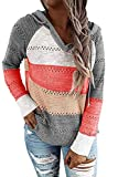Women's Fall Color Block Hoodies Pullover Warm Casual...