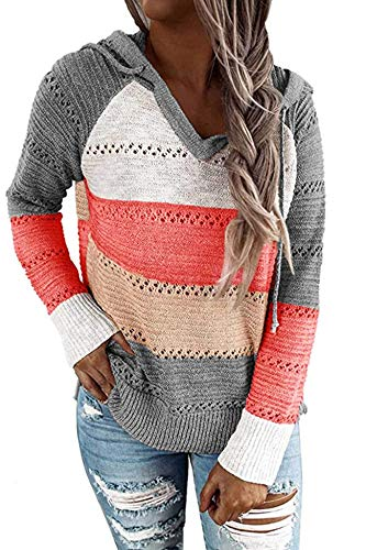 Women's Fall Color Block Hoodies Pullover Warm Casual Loose Knitted Hooded Sweatshirts Tops