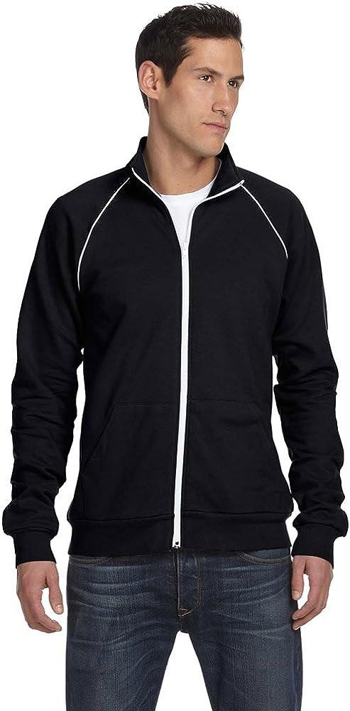 Bella + Canvas Men's Piped Fleece Jacket (3710) BLACK/WHITE