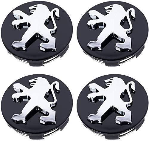 Seayahy 4 Stück Leichtmetallfelge Hub Cap,Felgendeckel Radkappen,Staubdicht Radnabendeckel,Nabenkappen für Peugeot 106 107 206 207 307 308 406 407,Auto-Styling-Zubehör