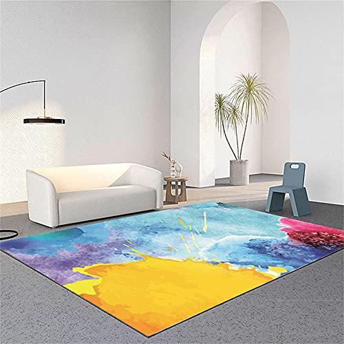 Tapete Quarto Alfombras De Pasillo Baratas Amarillo Azul Rojo púrpura Moderno Minimalista diseño gráfico Abstracto Alfombra Lavable Lavadora 60X90cm