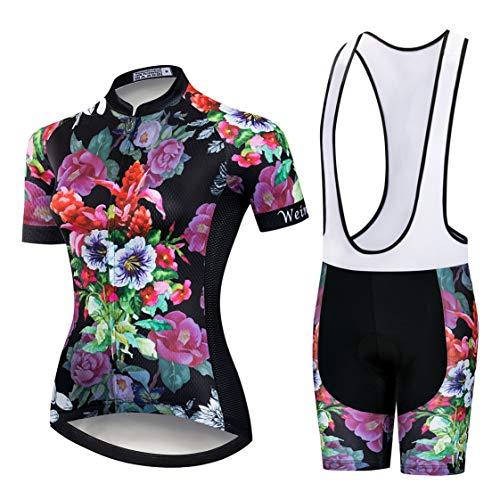Weimostar Maillot de ciclismo con tirantes y traje para mujer, conjunto de...