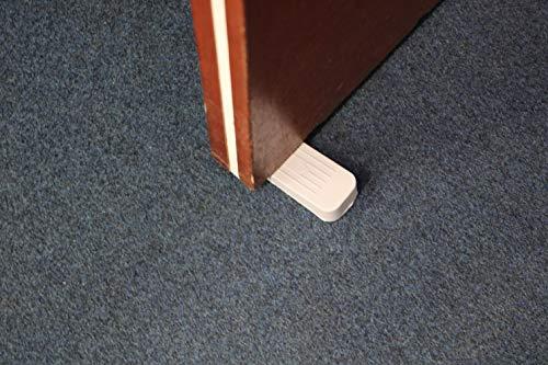 fiXte® Deluxe Heavy Duty Non-Slip Rubber Door Wedge Stopper, Light Grey/Cream