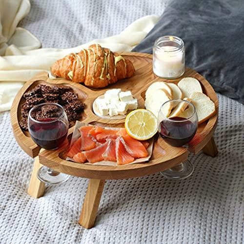 KLML Mesa de picnic plegable al aire libre de madera, mesa plegable para exteriores, estante de copas de vino, jardín, viajes, cena al aire libre