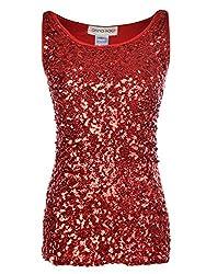 Red Sequin Sleeveless Round Neck Tank Top