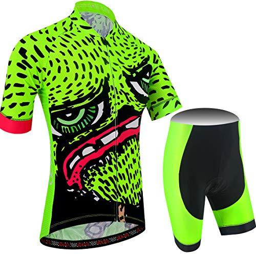 BXIO Completo Ciclismo Uomo, Traspirante Maglia Ciclismo Uomo con 3 Tasche Posteriori e Salopette Ciclismo per MTB, Verde Fluo, (210 Salopette), M