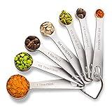 PALADA Stainless Set of 7-Small Tablespoon to 1/8 Metal Teaspoon Set Mini measuring spoons, Medium, Steel