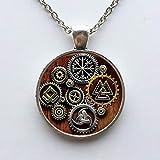Collar con colgante de cristal con diseño de símbolo vikingo, estilo steampunk