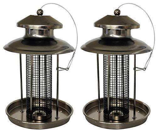 2 X Deluxe Suspendu Mangeoire pour Oiseaux Facile Remplissage Écrou Étain Lanterne pour Petits Oiseaux