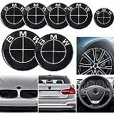 DOGCAT 7PCS Autos Modificados Reemplazo de Logotipo, capó 82mm+Maletero 73/82mm+Emblema de Volante 45mm+Tapas Centrales para Llantas 68mm*4, para BMW Serie 1,3,5,7,X1,X3,X5,X6, Todo Negro,82+73+68+45