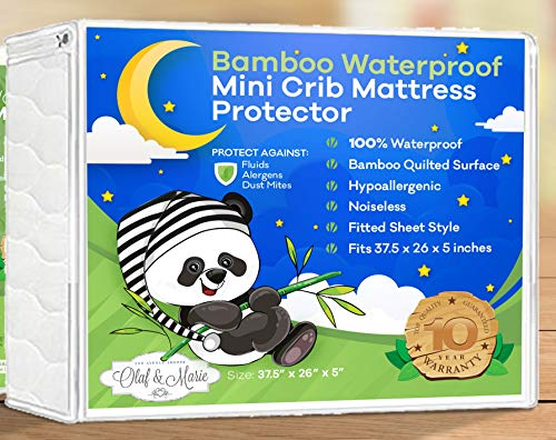 Best Price! Waterproof Bamboo Soft Quilted Mattress Protector Fits Mini Portable, Foldable Travel Ma...