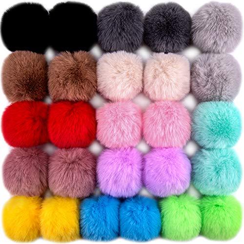 BQTQ 26 Stück Kunstfell Pompon Fellbommel Pompon Bommel Fellpompon Kaninchenfell Fellbommel für Mützen Tasche Anhängern Dekoration, 13 Farben (Helle Farbe)