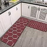 Juego de 2 alfombras de cocina, hexagonales de panal en burdeos antideslizantes y alfombras de cocina de franela suave antideslizante, lavable y duradera alfombra
