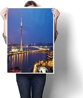 Modern Painting Night Macau Tower in Twilight time Painting,16
