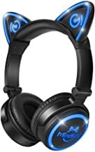 MindKoo Bluetooth Headphones Wireless Over Ear Cat Ear Headphones with LED Light Foldable Built-in Microphone and Volume C...