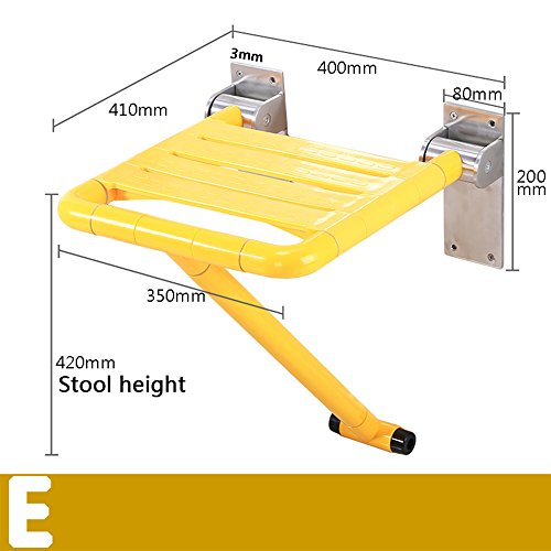 WEBO HOME- Chaise de pliage de sécurité sans barrières vieille salle de bain baignoire chaises de changement de douche accoudoir chaise chaise salle de bain assise selle -Main courante de salle de bain ( Couleur : Le jaune , style : E )