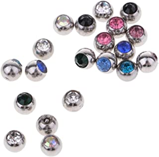 D DOLITY 20Pcs Crystal Replacement Ball Stainless Steel Piercing Jewelry Ball Screw 1.2mm/1.6mm Ear Gauge