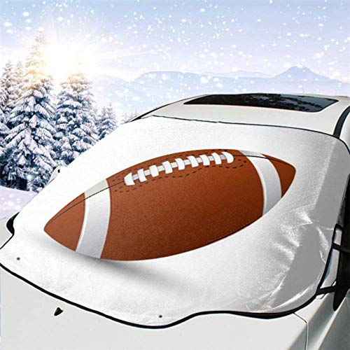 FETEAM Winddichte Windschutzscheibe Schneedecke Auto Sonnenschutz Visier American Football Standard Ball Sport Illustration Winter Frostschutz Protector Alle Fahrzeuge