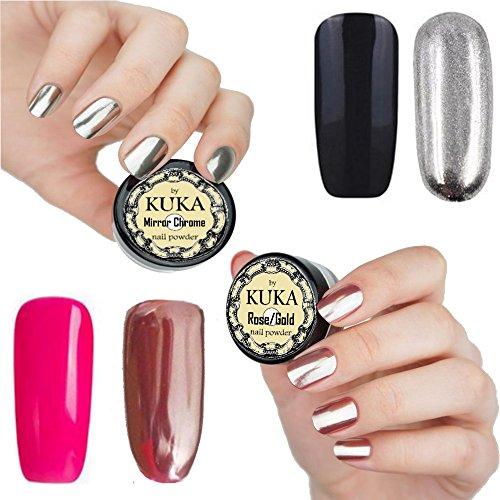 Or Rose Vernis à ongles effet poudre Argenté Miroir Chrome Paillettes ongles manucure Art Pigment poussière en brillant Effet de gel de couleur rose ou Noir