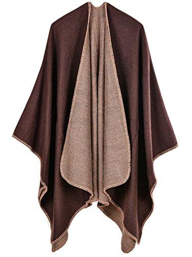 Aivtalk - Capa de Lana Liso para Mujer Abrigo de Poncho de Invierno...