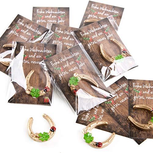 Logbuch-Verlag 10 kleine Geschenke Frohe Weihnachten Gastgeschenke Karten + Hufeisen Glücksbringer Mini Mitgebsel Give-Away
