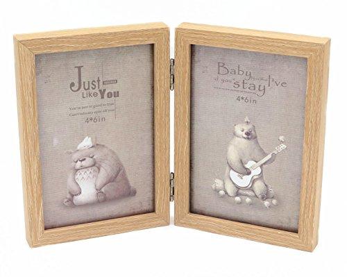 Smiling Art Bilderrahmen für 2 Fotos aus MDF Holz mit Glasscheibe, klappbarer Bilderrahmen, Doppelrahmen (Beige, 2x10x15 cm)