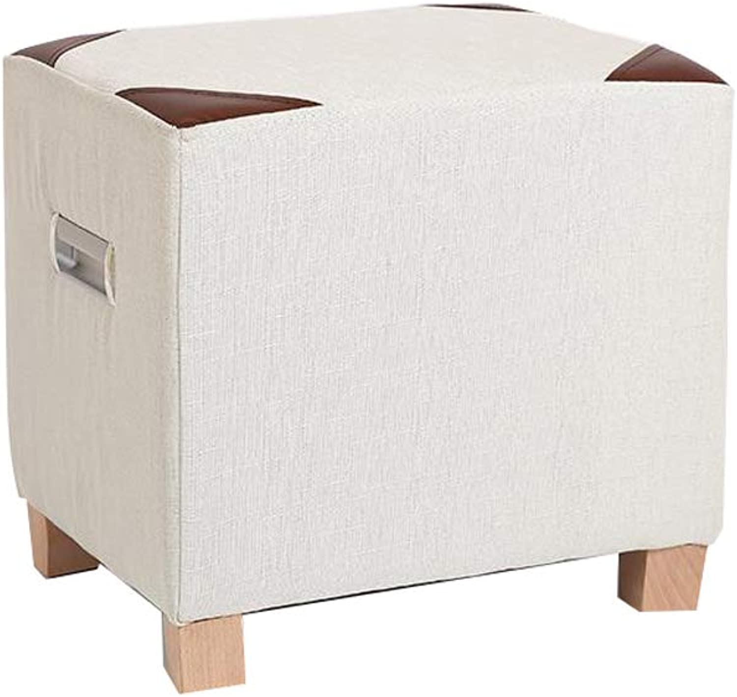 LPD Brands Low Stool Small Stool Sofa Stool Small Bench Leather Stool Solid Wood Change shoes Bench (color   White)