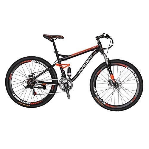EurobikeEUROBIKE S7 マウンテンバイク MTB 27.5 21変速 前後のディスクブレーキ 破れた風の車輪 通勤通学 自転車 スポークホイール オレンジ色 27.5