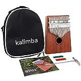 HIOD Piano de Pulgar Kalimba de 17 Teclas con Madera de Caoba con Bolsa, Kit de Martillo y Libro de Música, Thumb Piano Piano de Pulgar Portátil para Niños