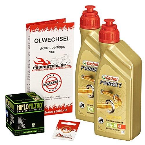 Castrol 10W-40 Öl + HiFlo Ölfilter für Kawasaki ER6f / ER6n, 05-15, EX650A EX650C - Ölwechselset inkl. Motoröl, Filter, Dichtring