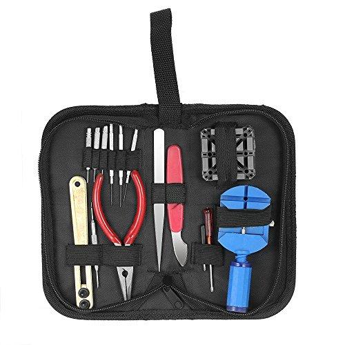 16pcs profesional Kit de herramientas de reparación de relojes caso abridor banda enlace Pin Remover W/destornilladores aguja nariz alicates juego de herramientas para relojeros