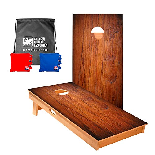 ACA American Cornhole Association - Star Dark Panel Wood Professional Cornhole Boards with Corn Filled Red and Royal Bags