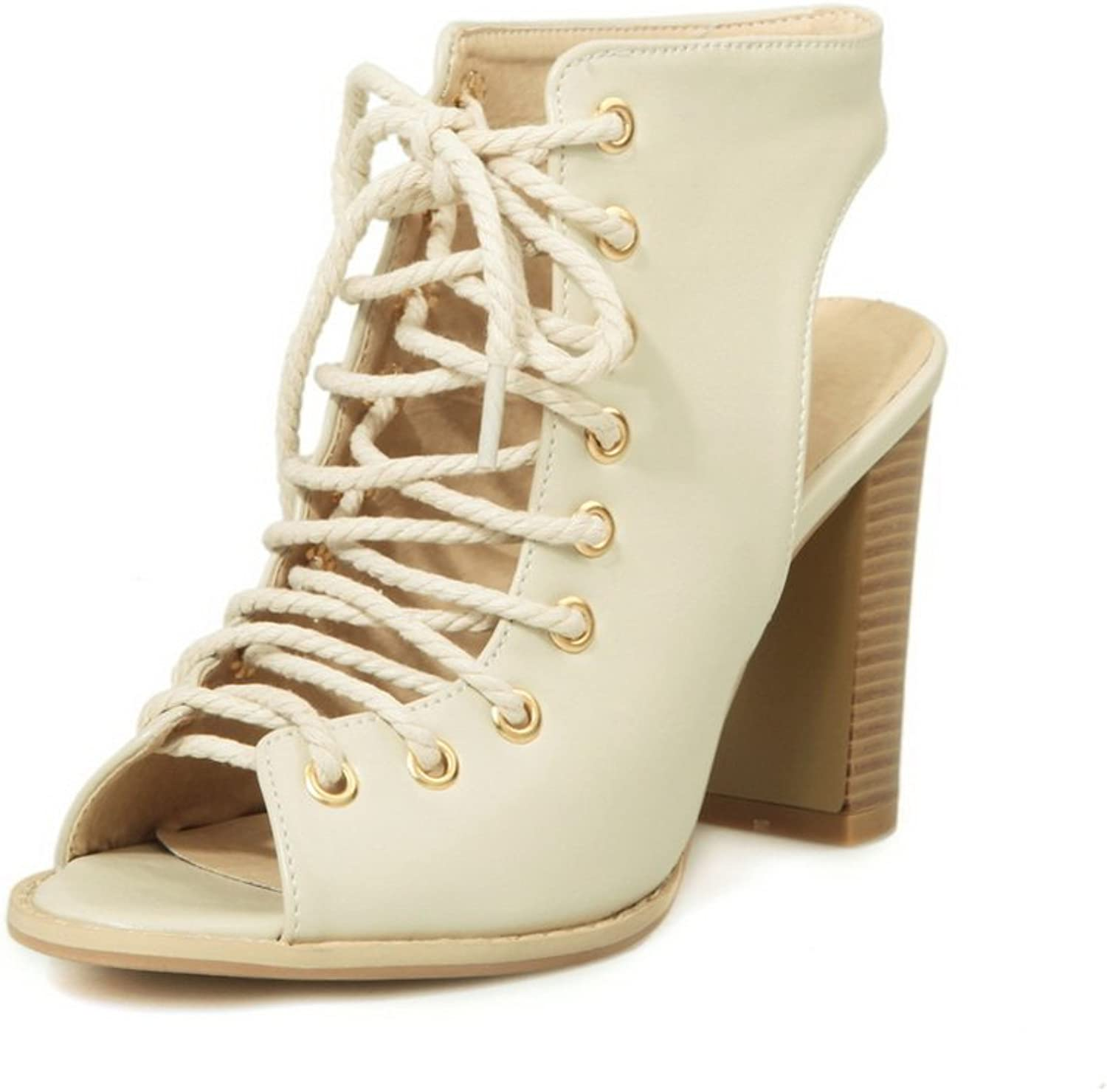 1TO9 Womens Chunky Heels Lace-Up Beige Soft Material Sandals - 12 B(M) US